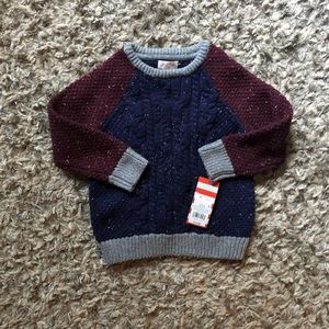 NWT Cat&Jack sweater. Blue,Gray& Burgundy sz 3T